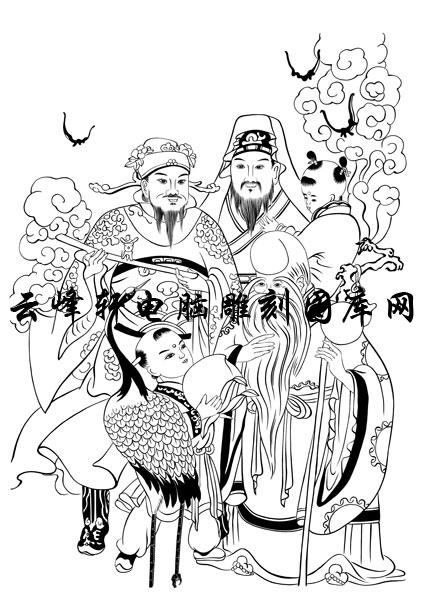首页 雕刻矢量图路径图案系列 中国传统神仙,吉祥神,门神,寿星,土地神