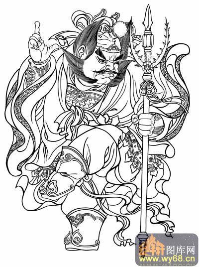 中国传统神话人物仙人图-矢量图-门神荼-路径神话人物