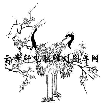 长卷鹤-矢量图-群鹤戏洲图-仙鹤雕刻图片
