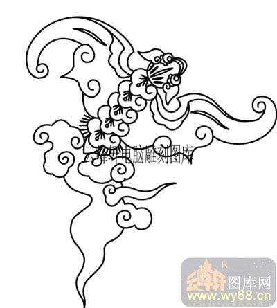 100个中国传统吉祥图-矢量图-飞天蝙蝠-b-004-电脑雕刻路径图