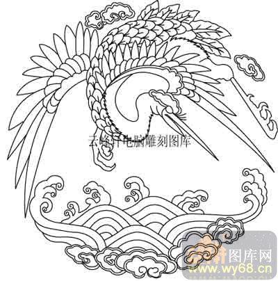 100个中国传统吉祥图-矢量图-仙鹤海浪-b-019-矢量