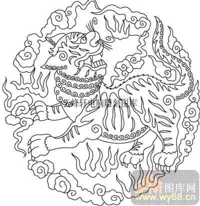 100个中国传统吉祥图-矢量图-麟角虎翅-b-028-吉祥图案