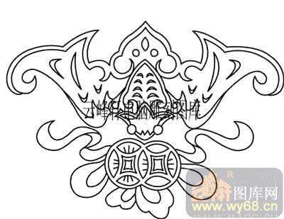 100个中国传统吉祥图-矢量图-蝙蝠招财-b-007-传统图案