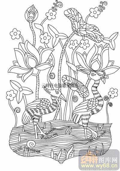 艺术囹�a�b&��#�+���_100个中国传统吉祥图-矢量图-荷花祥鸟-b-037-中国图片
