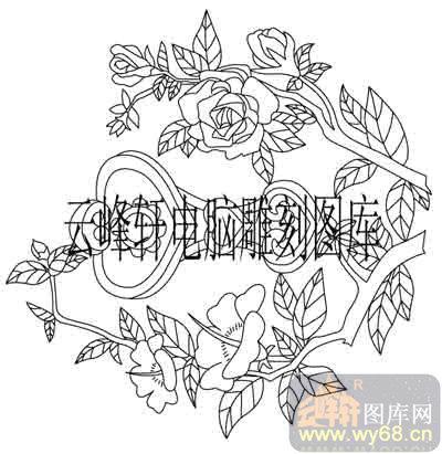 100个中国传统吉祥图-矢量图-月季花如意-b-096-吉祥