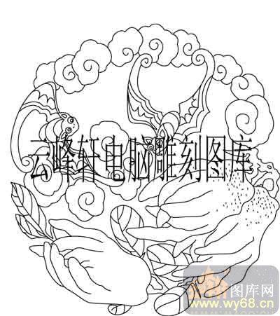 100个中国传统吉祥图-矢量图-蝙蝠佛手瓜-b-083-传统图案