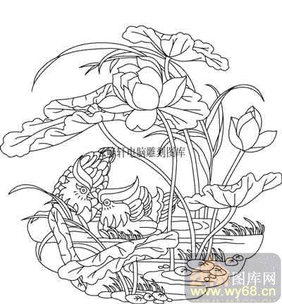 100个中国传统吉祥图-矢量图-荷花鸳鸯-b-052-吉祥图案