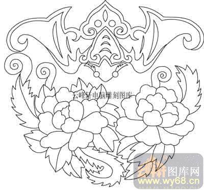 100个中国传统吉祥图-矢量图-富贵蝙蝠-b-048-路径图
