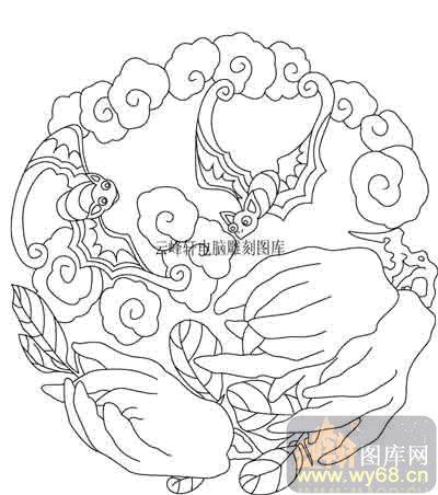 100个中国传统吉祥图-矢量图-蝙蝠祥云-b-061-中国图