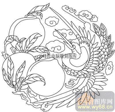 100个中国传统吉祥图-矢量图-寿桃仙鹤-b-060-传统图案
