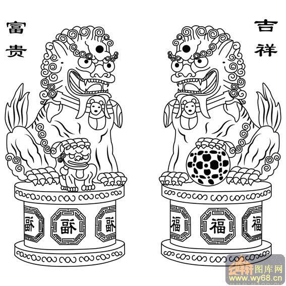 中国传统吉祥图案,矢量图,路径图案                        门狮子