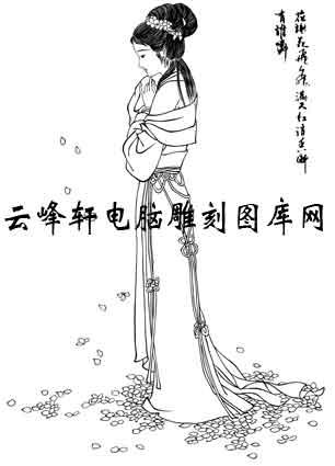 中国国画白描仕女3-矢量图-29林黛玉-矢量仕女图