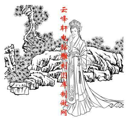中国传统国画矢量仕女图