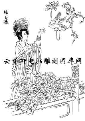 中国国画白描仕女3-矢量图-16杨玉环-国画仕女图案