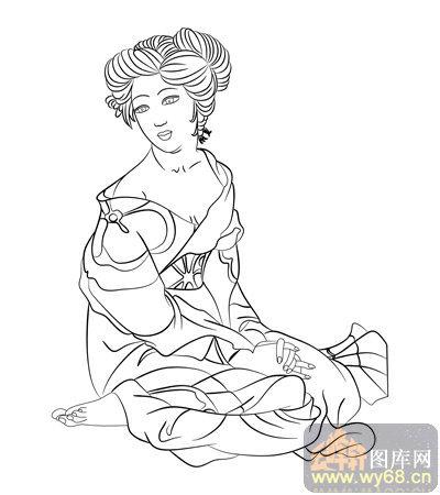 路径古代仕女1-矢量图-飘忽若神-古典人物062-国画