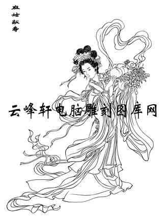 中国国画白描仕女3-矢量图-65麻姑-矢量仕女图案