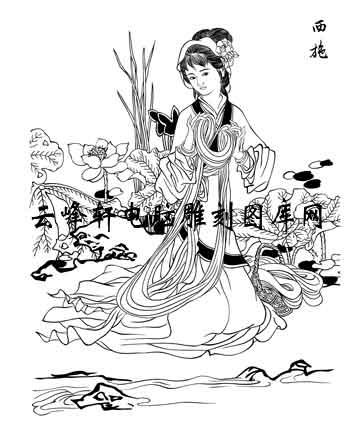 中国国画白描仕女3-矢量图-40西施-矢量仕女图案