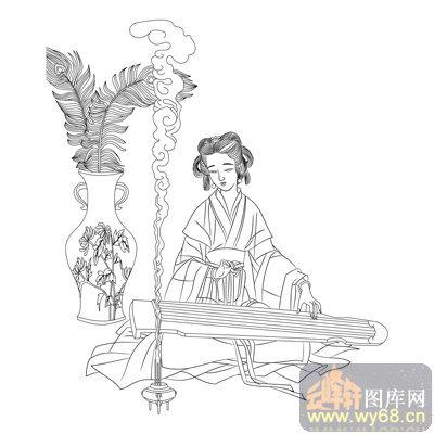 路径古代仕女1-矢量图-焚香抚琴-古典人物066-矢量仕女图案