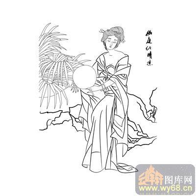 路径古代仕女1-矢量图-霞裙月帔-古典人物013-仕女画