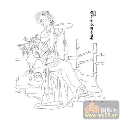 路径古代仕女1-矢量图-国色天香-古典人物077-国画