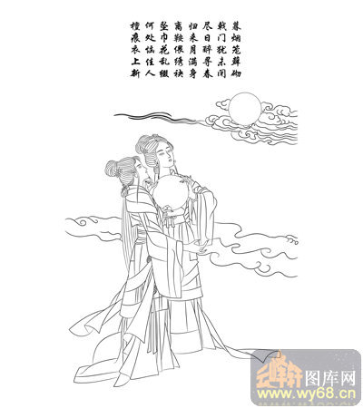 路径古代仕女1-矢量图-望月思怀-古典人物080-国画