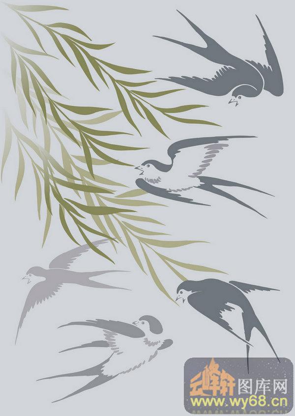 剪纸柳树燕子内容 剪纸柳树燕子版面设计