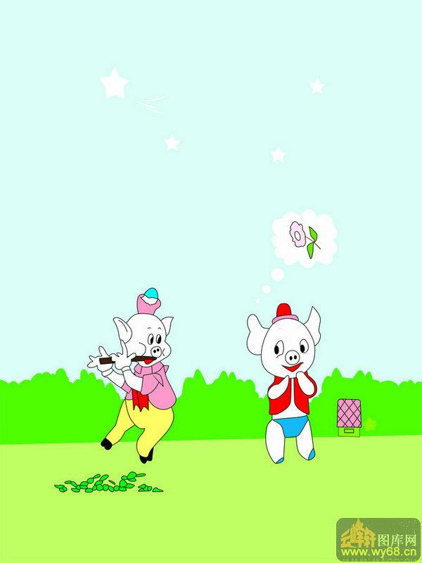 移动门图库-重友-重友5-zy-kt-073-卡通小猪-移动门图片素材