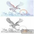 22传统花鸟鱼(1)-雄鹰展翅-00040-艺术玻璃