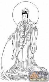观音-白描图-52净水观音-2-观音菩萨雕刻图案