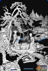 琴棋书画景多-对弈-棋-琴棋书画灰度图案