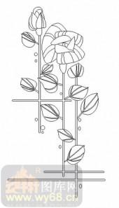 玻璃雕刻-08四扇门(4)-花叶-00064