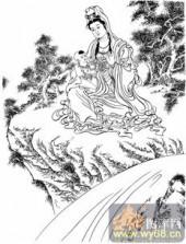 观音-白描图-21慈容观音-观音菩萨国画白描