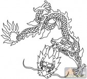 龙-白描图-虎步龙行-long45-白描龙画