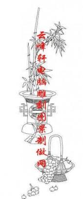 梅兰竹菊-白描图-竹子 葡萄-mlxj008-梅兰竹菊白描图