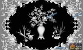 博古寿字子台-花瓶-博古寿字子台雕刻灰度图