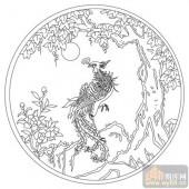 凤-白描图-丹凤朝阳-huangf028-白描凤图案