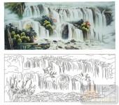 2011设计艺术玻璃刻绘-山水画2-雕刻玻璃图案