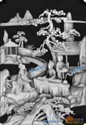 琴棋书画景多-美女抚琴-琴-琴棋书画浮雕图库