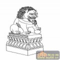 门狮子-矢量图-吉祥门狮7-国画门狮图