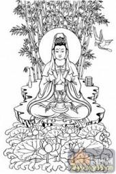 观音-白描图-198紫竹观音-5-观音菩萨雕刻图案