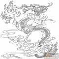 龙-白描图-盘龙戏珠-long9-白描龙图案