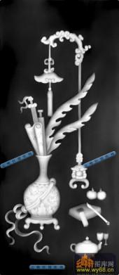 古董架002-古典花瓶-001-古董架灰度图案