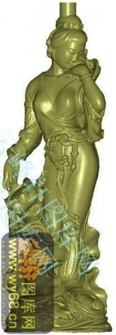 荷花美女-立体雕刻图
