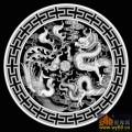 龙凤戏珠 云 T纹边 圆-浮雕灰度图