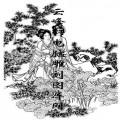 锦瑟年华-白描图-9荷香清暑-白描仕女图案