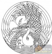 100个中国传统吉祥图-矢量图-仙鹤寿桃-B-018-矢量图案