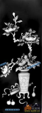 古董架002-花枝-014-古董架浮雕灰度图