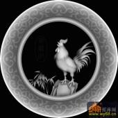 鸡 竹子 花纹 圆-欧式洋花浮雕灰度图