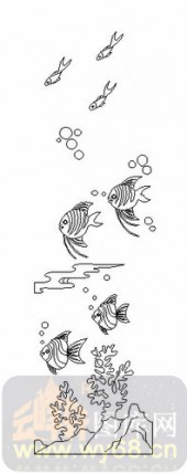 艺术玻璃图-08四扇门(4)-鱼-00119