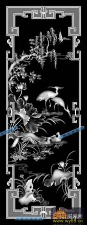 01-仙鹤-002-花鸟浮雕灰度图